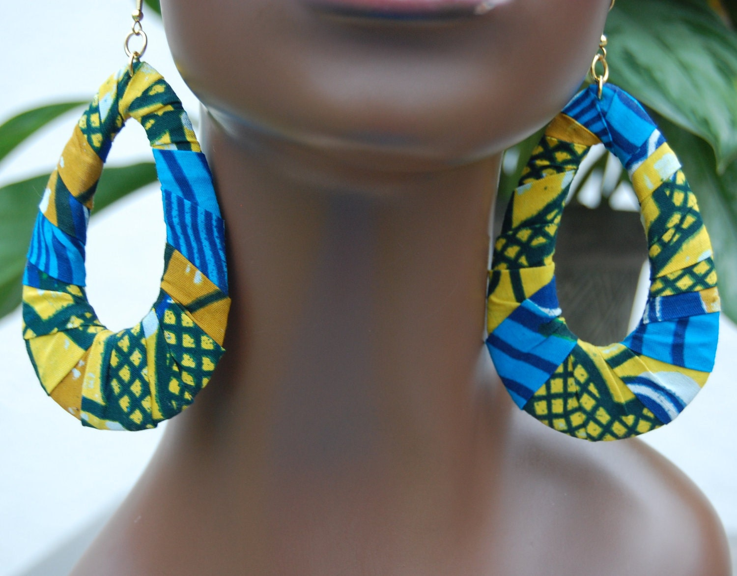 Large Afrocentric African Fabric Earrings