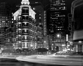 SHIPS NOW --- 8x10 Black and White Photograph of San Francisco at Night