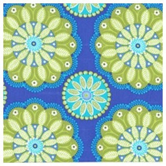 Blue and Green Floral Fabric, Gypsy Bandana By Pillow & Maxfield for Michael Miller, Gypsy Kaleidoscope in blue, 1 Yard