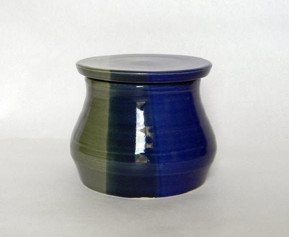 French Butter Jar in Cobalt Blue and BlueGrass Green