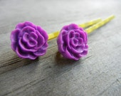Purple Flower on Yellow Bobby Pins