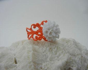 White Rose Flower on Orange Filigree Ring