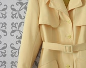 The Lemon Drop: Sunny Yellow 1970s Vintage Trench Coat, size medium-large