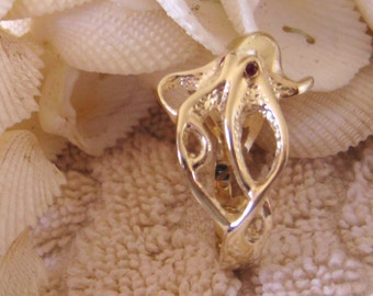 """14kt yellow gold """"Octopus"""" ring w/Ruby """"eyes"""""""