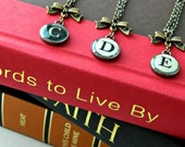 Vintage Typewriter Initial Necklace - Antique Brass with bow