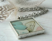 Dragonfly Pendant - Pastel Blue and Pink in a Square Bezel