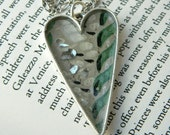 Heart Pendant - 1951 Kelly Green Vintage Wallpaper with Shattered Mercury Glass