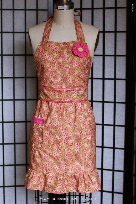 Womens Bib Apron - Fitted Waist Gathered Skirt in Cherry Blossom Pattern