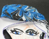 Swirls of Marbled Paint on Charmeusse Silk Scarf