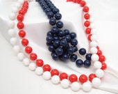 Repurposed Vintage Beaded Red White and Blue Necklaces