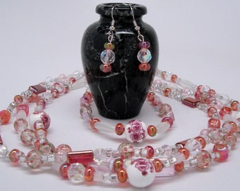 Triple-Strand Necklace Porcelain Accents with Matching Bracelet and Earrings