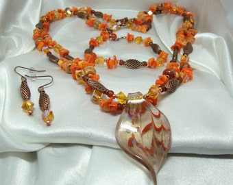 Copper and Coral Necklace Set with Glass Pendant