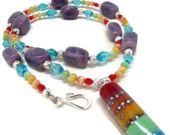 Rainbow Necklace and Earrings with Lampwork Pendant