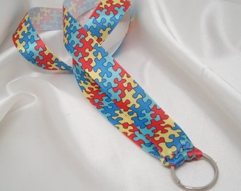 Autism Awareness ID Ribbon Lanyard