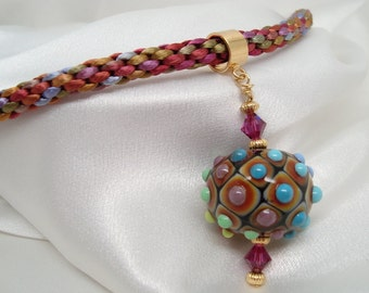 Kumihimo Necklace with Lampwork Pendant