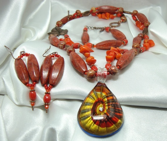 Coral and Copper Necklace Bracelet and Pierced Earrings