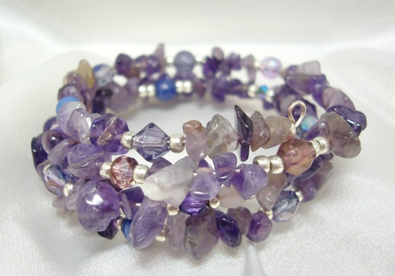 Reserved for Ingrid Amethyst and Crystal Memory Wire Bracelet