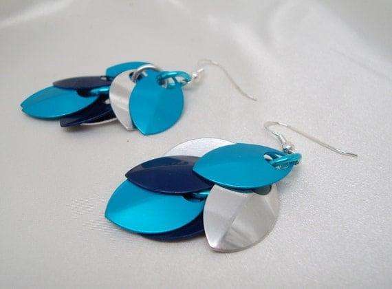 Blue Pierced Dragon Scales Earrings