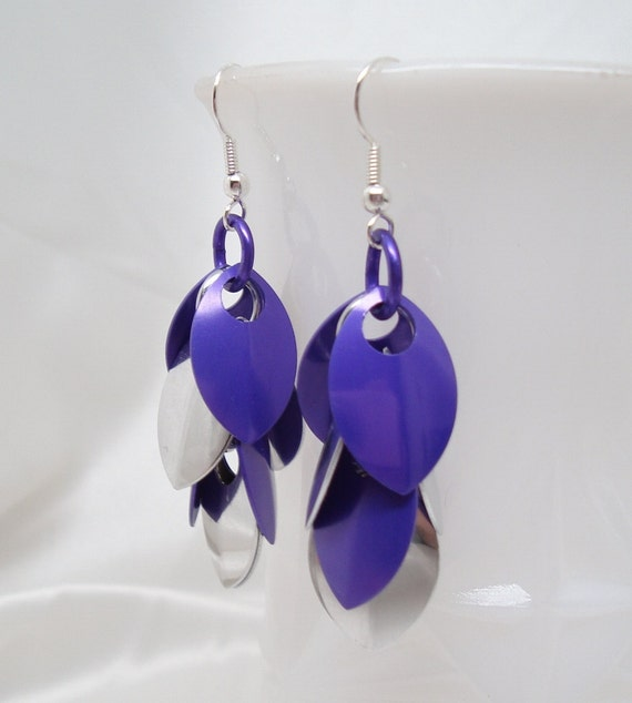 Purple and Silver Dragon Scale Earrings