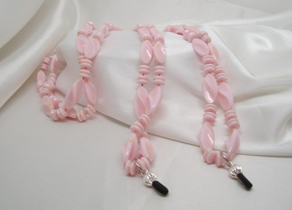 Vintage Pink Beaded Necklace Converted to Glasses Leash