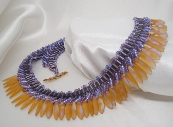 Purple and Topaz Spikalicious Dagger Necklace