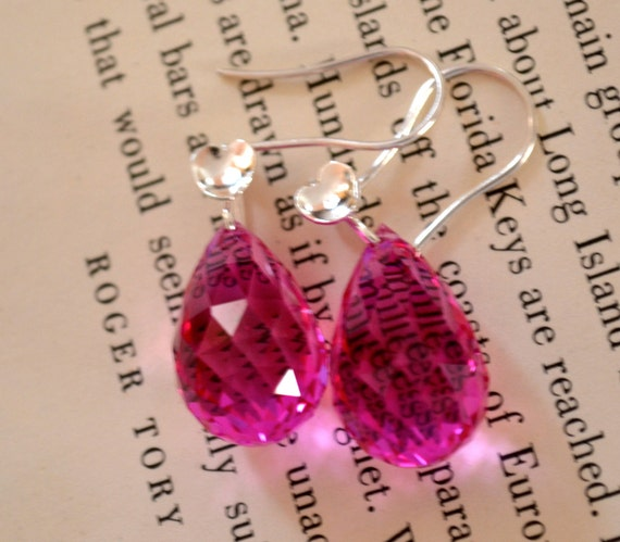 OOAK MISTIC Pink Topaz  Earrings  61.55 CT Briolette and .925 Silver, Super Large