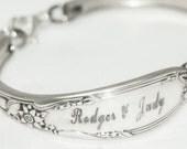 Personalized Spoon Bracelet, Custom Engraved for Wedding - Bridal - Anniversary  Spoon Bracelet.. Silverware Jewelry  Custom Personalized