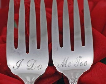 Vintage Wedding I Do Me Too Cake Forks...Evening Star for the Bride and Groom, Bent Spoon Jewelry