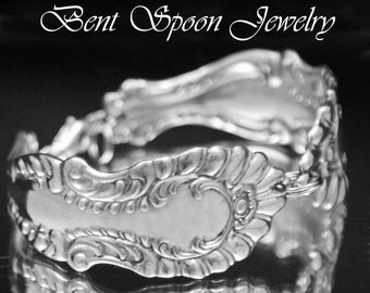 Silver Spoon Bracelet, Vintage Antique Elberon 1897 recycled Spoon Bracelet..Silverware Jewelry