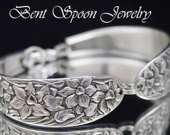 Silver Spoon Bracelet, Spoon Jewelry, Silver Bracelet, Silverware Jewelry, Wide Silverware Bracelet, NARCISSUS 1935