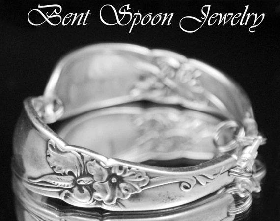 Spoon Bracelet, Spoon Jewelry, Silverware Jewelry, Silverware Bracelet, Vintage Wedding,  1953 White Orchid