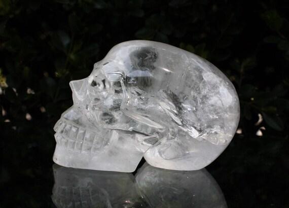 "WONDERFUL 3.7"" Natural Quartz Rock Carved Realistic Crystal Skull 1.11 LB Healing C0178"