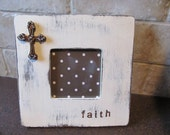 Custom Hand Painted Wood Picture Frame with Rhinestone Cross