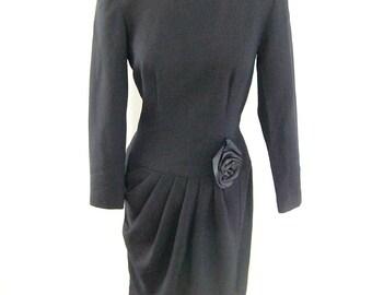 80's Black Wool Drop Waist Dress