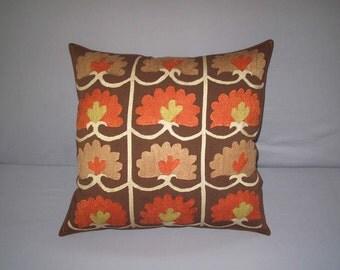 Beautiful  handmade samarkand  grid pattern Suzani Pillow Cover embroidered cushion cover original silk 19.5X19.5 inch