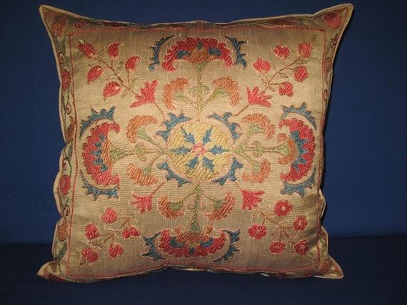 "Beautiful silk handmade traditional    flowers pattern Bukhara Trade  Suzani Pillow Cover 17""x17"" inch SALE"