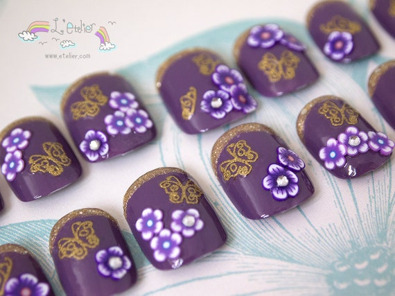 Fantasy Purple and Gold Butterflies and Flowers Nail Art Set (Ready to Ship and Wear)