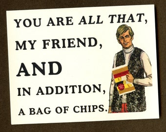 BAG OF CHIPS - Funny Love Card - Funny Card For Friend - I Love You Card - Card for Friend - Funny Card - Funny Friend Card - Item# M048