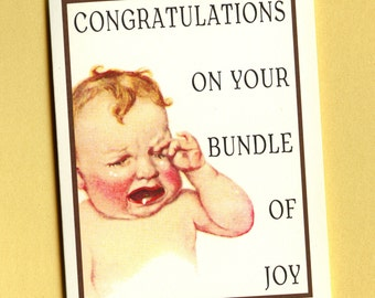SCREAMING BABY CARD - New Baby Card - Funny Baby Card - Congrats Baby - Baby Congratulations Card - Baby Congratulations - Baby - Item# C002
