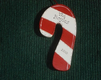 Personalized Wood Christmas Ornament - Candy Cane