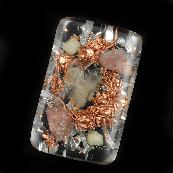 Orgonite Style Pocket Size with Tibetan Crystal, Lepidolite, Rhodizite and Copper Nuggets ... Orgone Positive Energy  ..  (32)
