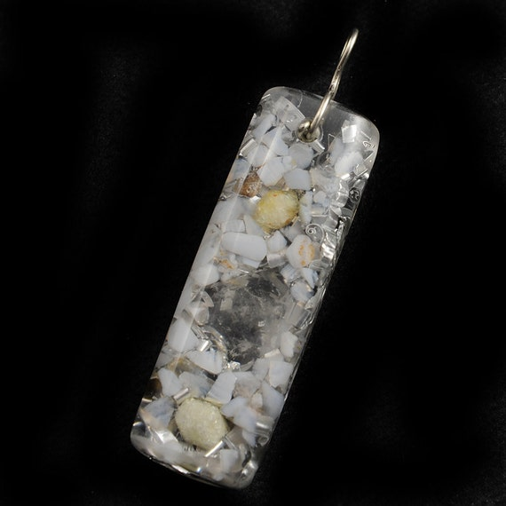 Orgonite Style Pendant .. Tibetan Crystal ..  with Blue Lace Agate & Rhodizite ..  Orgone Positive Energy Generator .... Very Calming  (49)