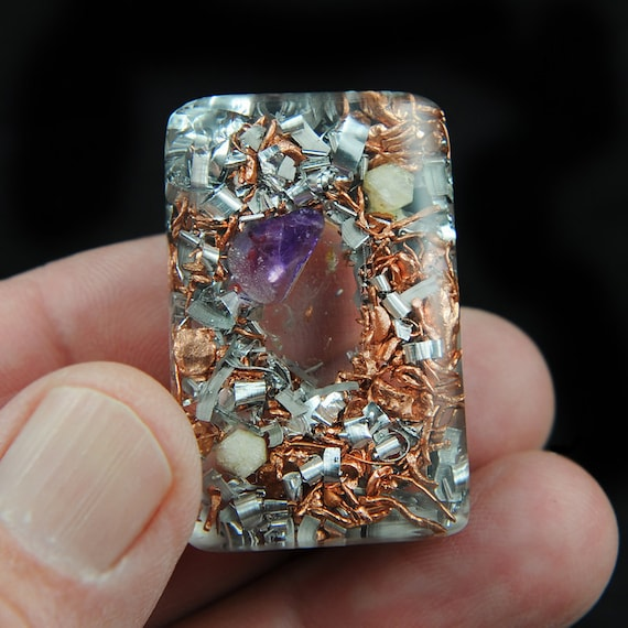 Orgonite Style Pocket Size with Tibetan Crystal, Amethyst, Rhodizite and Copper Nuggets ... Orgone Positive Energy  ..  (50)