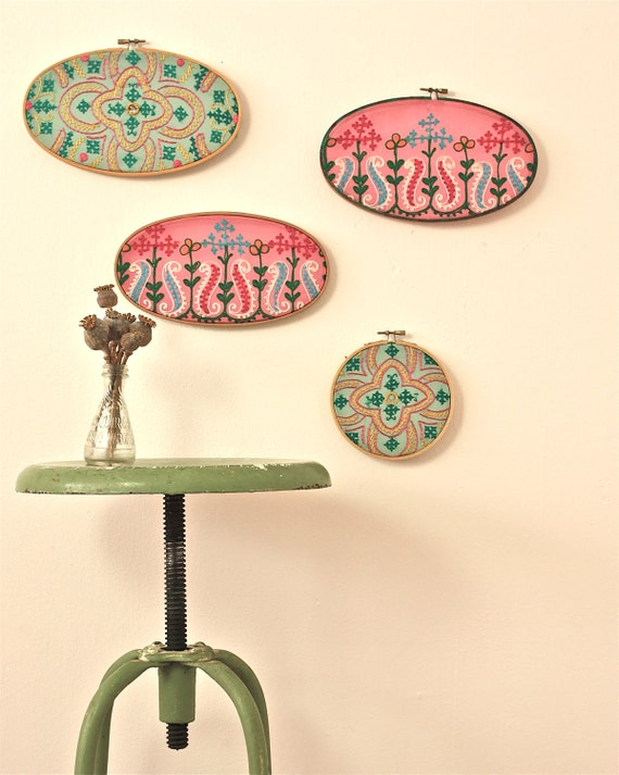 instant collection of vintage Indian sari fabric in vintage embroidery hoops