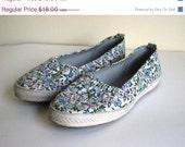 ON SALE on sale Vintage Flower Canvas Flat Slip On Sneaker