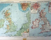 British Isles 1918 Antique Map German Atlas