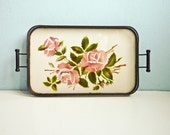 Floral Decor Porcelain Tray Pink Rose Green Leaves rectangular reticulated