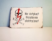 Temp Reserved - Vintage Industrial Metal Sign Electrical Devices Warning