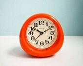Vintage 70s Orange Alarm Clock Mechanical Wind Up Retro - EuroVintage