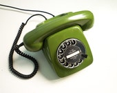Vintage Dial Rotary Phone Green Telephone 70s